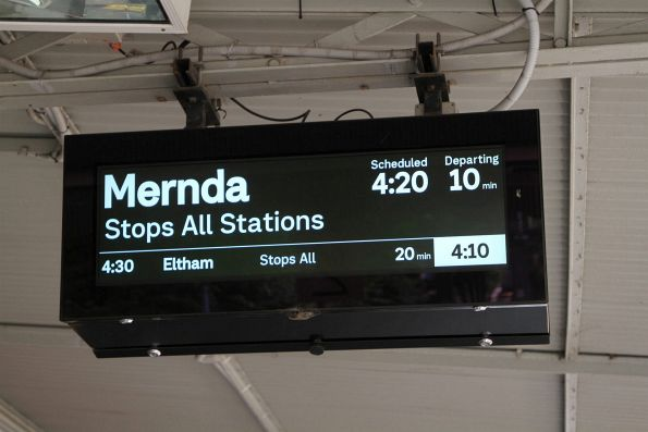 Next train from Jolimont is the 4:20 to Mernda