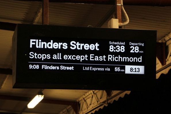 Evening trains running every 30 minutes towards the city from Glenferrie
