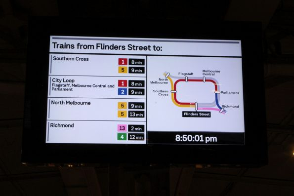 Redesigned 'Trains from Flinders Street to' screen on the platform at Flinders Street