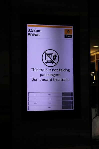 'Train not taking passengers' at Flinders Street platform 9