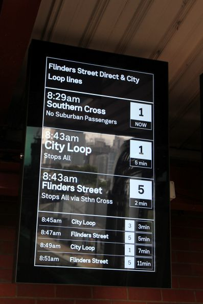 Next train for the 'Flinders Street Direct and City Loop Lines' is 'Not taking passengers'