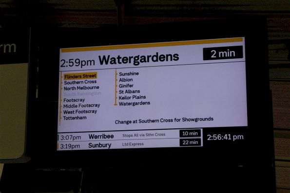 'Change at Southern Cross for Showgrounds' notice for a down Watergardens service at Flinders Street Station