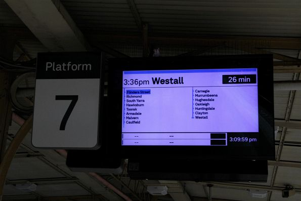 Westall service departing Flinders Street Station on a weekend