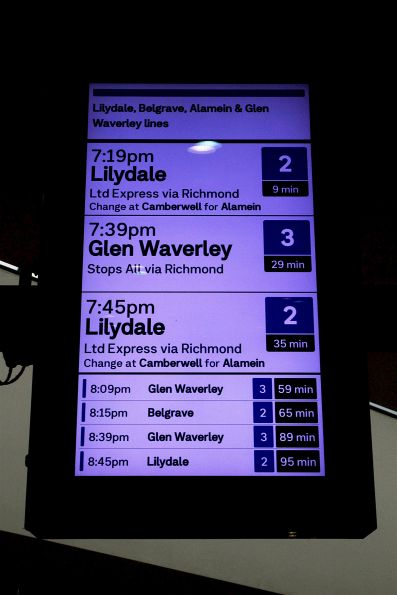 The next Belgrave service from Flinders Street Station is an hour away