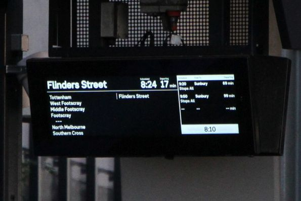Flinders Street and Sunbury services on the same platform screen at Sunshine