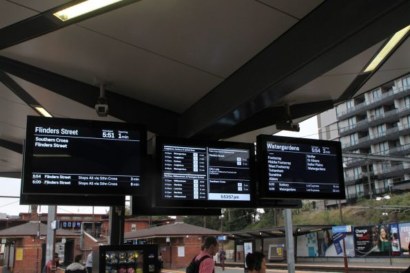 New format summary boards installed on the platform at North Melbourne