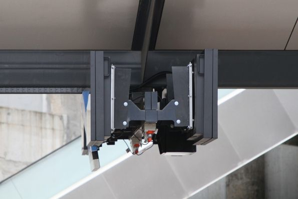 New format LCD panel mounting brackets on the platform at North Melbourne