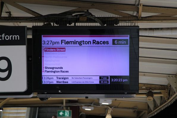 Flemington Races service on the next train displays at Flinders Street platform 9