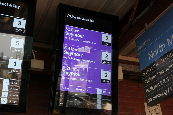 Next four trains to Seymour and Shepparton listed on the PIDS at North Melbourne
