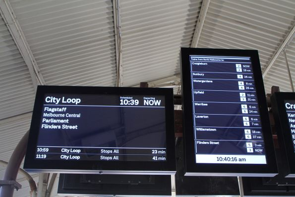 City Loop train also listed at North Melbourne as an option for the next 'Flinders Street' train