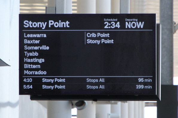 Stony Point service on the PIDS at Frankston platform 3
