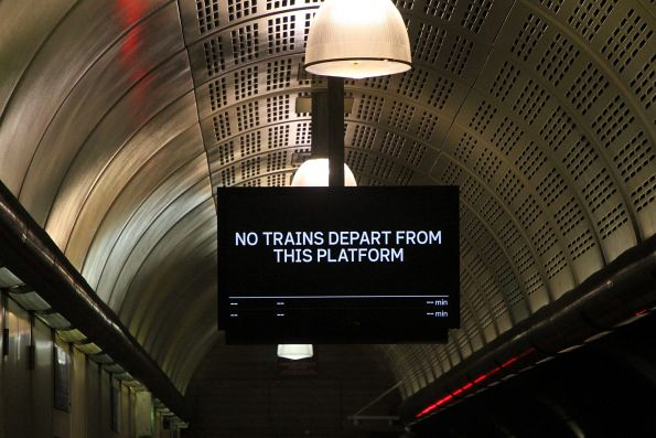 'No trains depart from this platform' message at Flagstaff