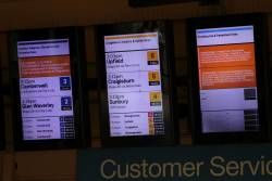 'Buses replace trains' notices at Flinders Street Station for the Lilydale, Belgrave, Cranbourne, Pakenham and Frankston lines