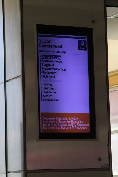 'Buses replace trains from Camberwell' notice at Flinders Street Station for the Lilydale and Belgrave lines