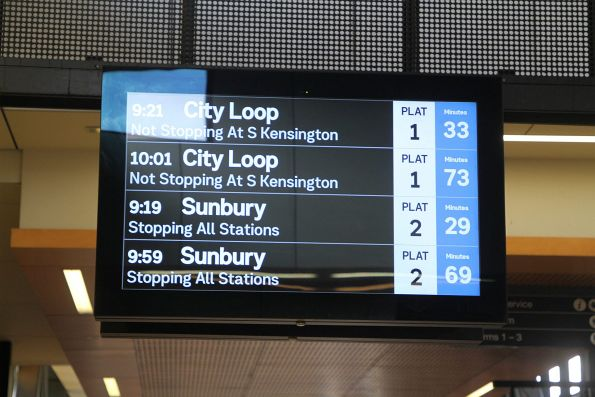 69 minutes until the second Sunbury train
