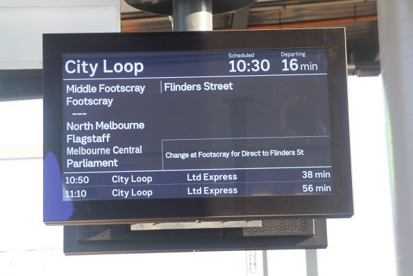 New large format PIDS at the new West Footscray platform 1