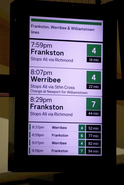 Frankston train due to depart from Flinders Street platform 4