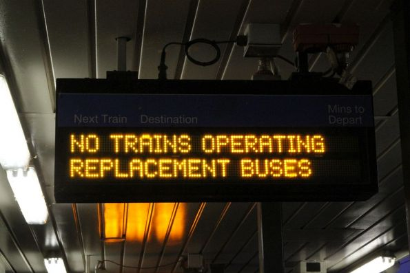 Poorly worded 'No trains operating replacement buses' message on the PIDS