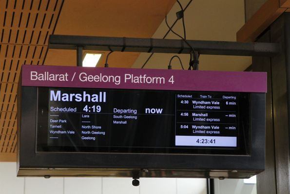 Down Marshall trains on the V/Line PIDS at Sunshine station
