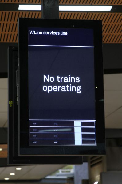 'No trains operating' message on the 'V/Line services line' screen at North Melbourne