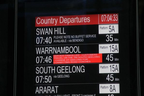 Warrnambool service on the PIDS at Southern Cross cancelled, passengers to catch the following Geelong train to change to a bus