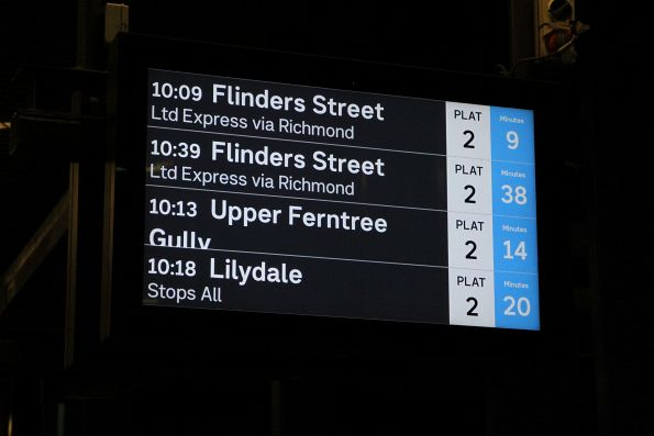 'Upper Ferntree Gully' overflows the PIDS at Ringwood station