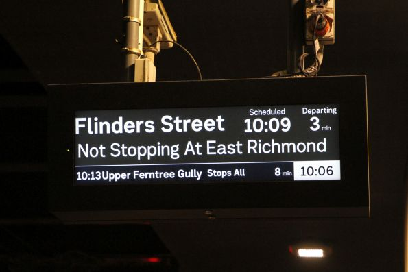 Upper Ferntree Gully train on the PIDS at Ringwood station