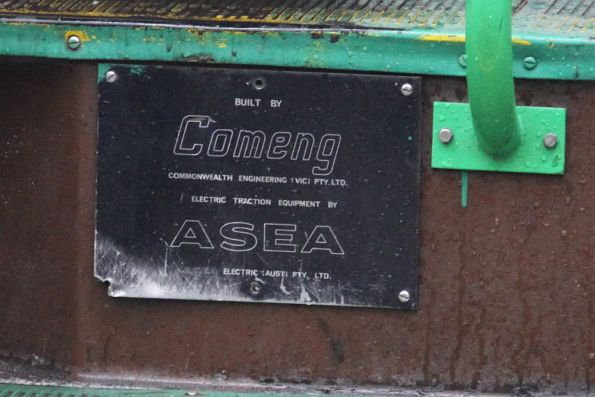 Comeng / ASEA builders plate on Z1.96