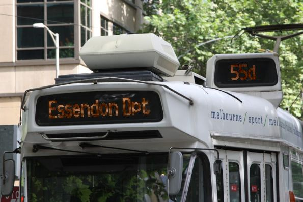 More enhancements to the Z3 class destination board: '55d' is now lower case, and it flips 'Essendon Dpt / Flemington Road'