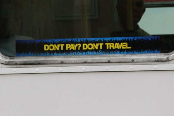 New fare evasion campaign window stickers: 'Don't pay? Don't travel.'