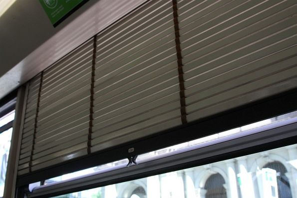 Aluminium roll down blinds inside a B1 class tram