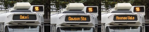 'Daly & Dawson Sts Moonee Vale' destination board - YT is making up suburb names now?