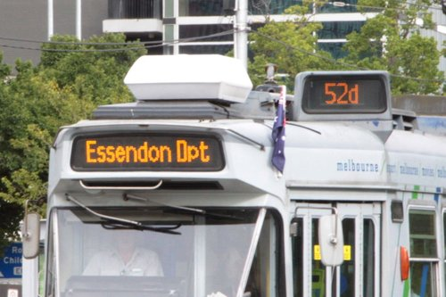 Essendon Depot / route 52d displayed on a Z3 class tram