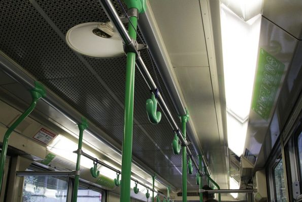 Pressed metal ceiling panels onboard a B1 class tram