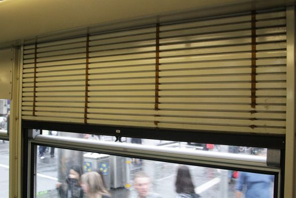 Aluminium roll down blinds onboard a B1 class tram