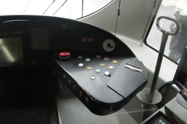 Various buttons and switches in the cab of a C2 class tram