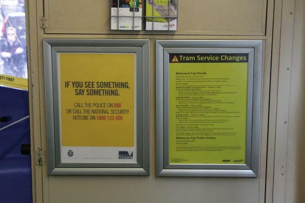 'If you see something, say something' poster onboard a tram