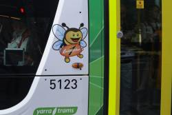 'Bumblebee 1' decal on PTV-liveried tram C2.5123