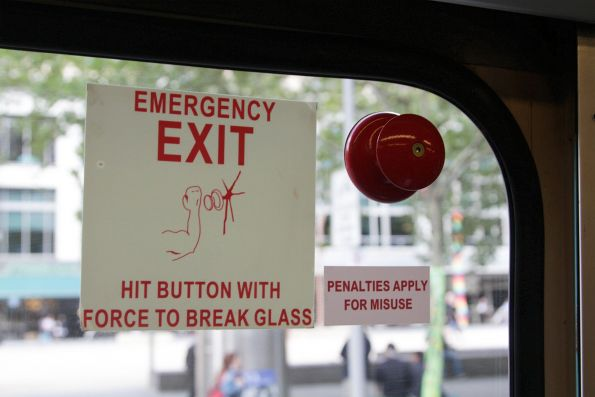 Emergency exit retrofitted into a window of a Z1 class tram
