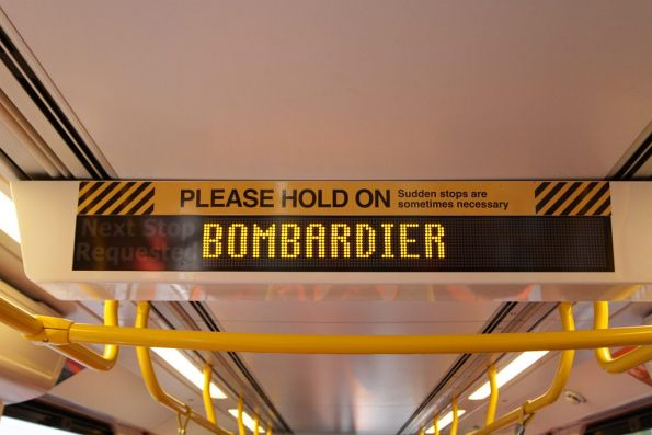 'Bombardier' displayed on the interior destination board of an E class tram