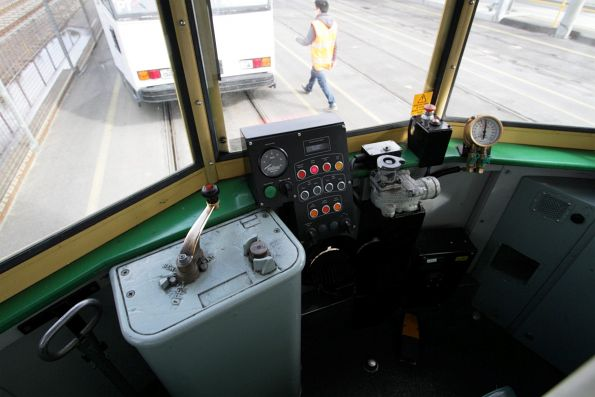 Driving cab of a refurbished W8 class tram