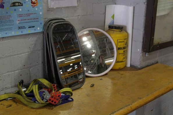 Spare tram mirrors in the shed at Brunswick Depot