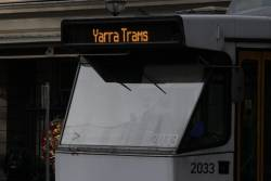 'Yarra Trams' displayed on the destination board of B2.2033
