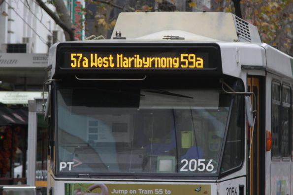 '59a Airport West & 57a West Maribyrnong' destination on a B2 class tram during the Abbotsford Interchange works