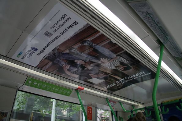 'Bank of Melbourne' advertising on the ceiling of a C class tram