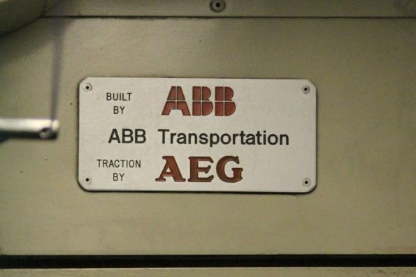 'Built by ABB Transportation / traction by AEG' plate onboard B2.2066