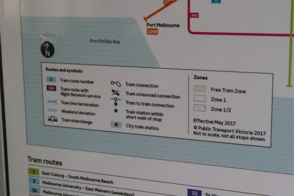 Special 'weekend deviation' note for route 3a on the 2017 tram network map