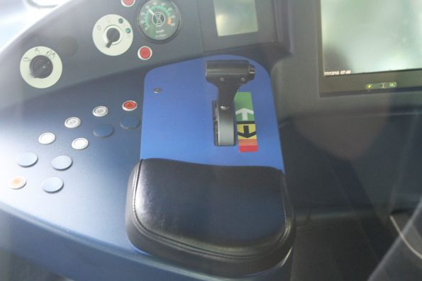 Combined brake and throttle leaver onboard a C class tram
