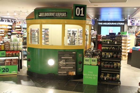W class tram mockup at the Melbourne Airport international departures terminal