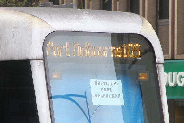 Paper 'route 109 ' sign in the windscreen of C.3019